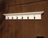 Entry way coat rack shelf with 6 hooks -  hook shelf