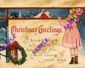 Digital Download-Antique Postcard-Christmas Greetings3 with lovely little girl