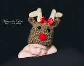Instant Download - PDF Rudolph Hat PATTERN - Christmas Crochet Pattern - Reindeer - Christmas - Sizes newborn to adult - Photography prop