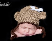 Instant Download - Chunky Monkey Hat Crochet PATTERN - PDF - Newborn to 4 years - Westhighland Terrier - Puppy - Hat - photography prop