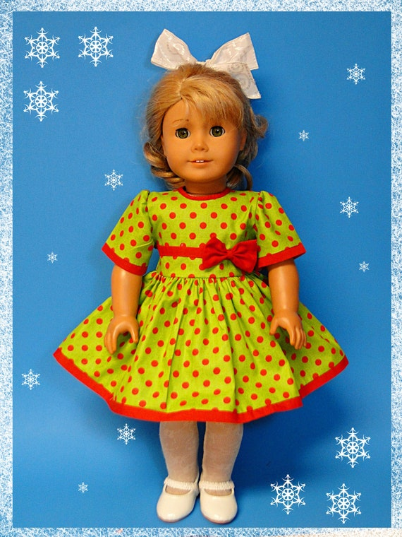 Christmas New Year Holiday Green Polka Dot Dress for American Girl Doll or other 18 inch doll