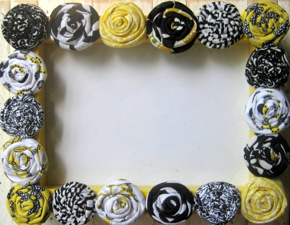 Yellow, Black, Gray, and White Fabric Flower 5 x 7 Picture Frame