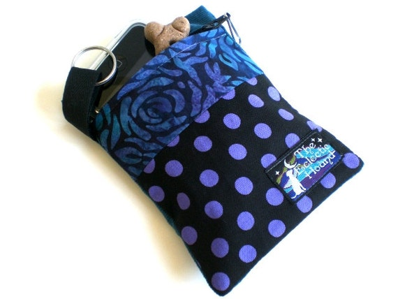 Batik Rose and Purple Polka Dots Pooch Pouch Clip-on Leash Accessory Bag