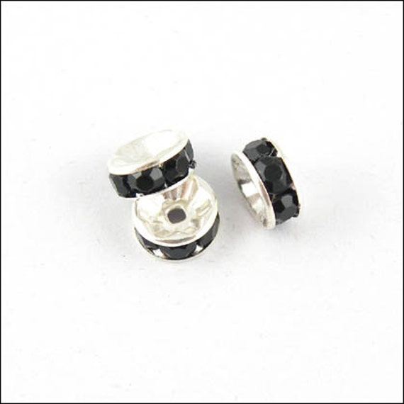 99 cents sale Black Crystal Go Round Spacer Beads in Shiny Silver Plate