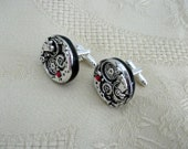 Steampunk  cufflinks with cogs and gears silver black ruby crystal for men groomsman gift dad jewelry cuff links clothing accessories