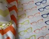 Baby Blanket, Hipster Glasses, Bright Multicolored Organic Cotton Blanket