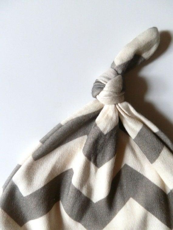 Newborn Hat, Gray Chevron, Newborn 0-3m, Neutral Baby Gift, Pregnancy Gift, Ready to Ship