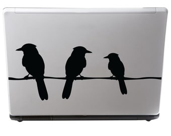 Birds on a Wire Laptop Vinyl Decal....Your choice of color.......FREE SHIPPING