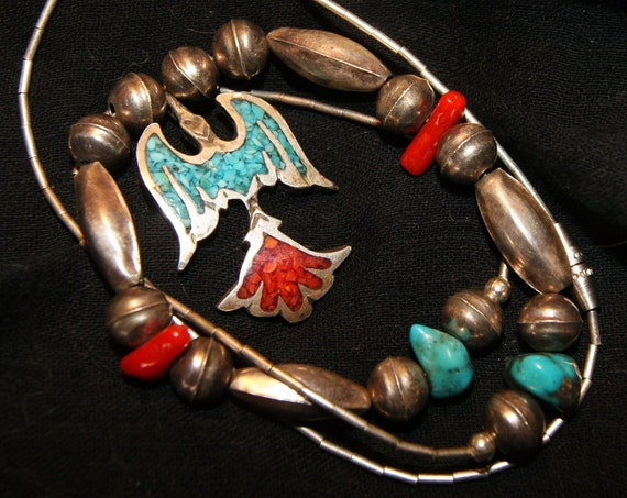 PAWN NAVAJO THUNDERBIRD Necklace Sterling Turquoise c1960
