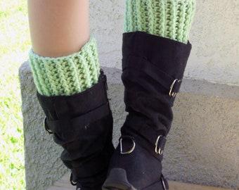 crochet boot cuffs in mint, leg warmers