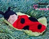 Crochet Ladybug Hat and Cocoon Set Newborn Baby Girl Photography Prop