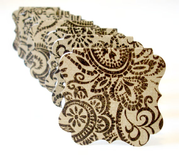 Paisley mini note cards blank miniature cards bracket style mini cards Set of 20 Any occasion mini cards