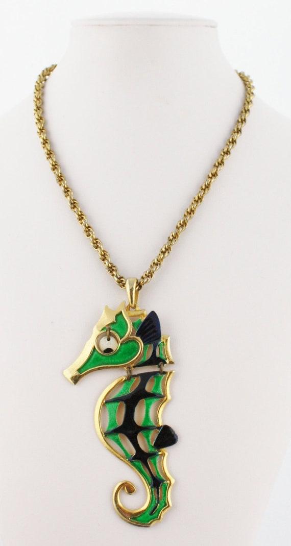 Long Seahorse Vintage Pendant Necklace