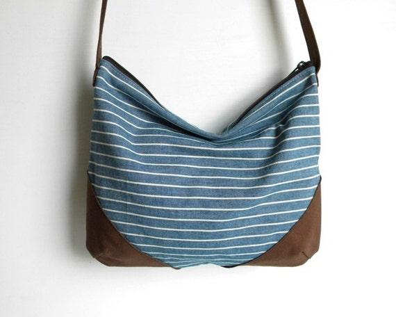 Blue Stripe Vegan Hobo Cross Body Bag