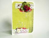 Summer Roses - OOAK Handmade scrapbook card
