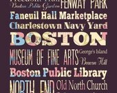 Boston, Massachusetts, Typography Poster/Bus/ SubwayRollArt 1620-Floral Series Boston's Attractions Wall Art Decoration-LHA-179-C03