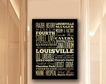 Large Typography Art Canvas of Louisville, Kentucky - Subway Roll Art 24X30 - Louisville's Attractions Wall Art Decoration -  LHA-216