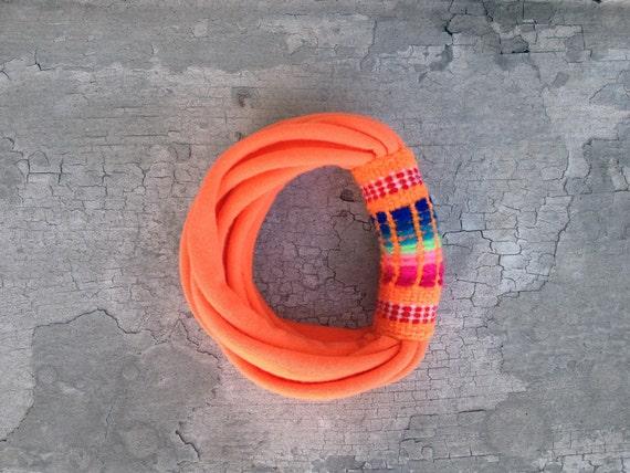 The peruvian bracelet - handmade in neon orange jersey and orange peruvian fabric