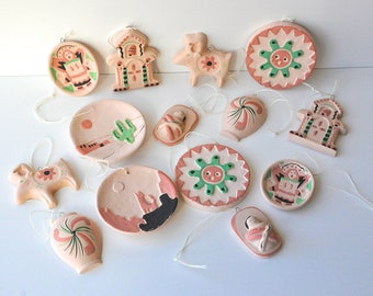 Vintage Pottery Clay Southwest Christmas Ornaments