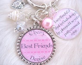 BFF Necklace Keychain PERSONALIZED Friendship  Bracelet, Gifts for Friends, Best Friends, BFF Jewelry Wedding Gift  Mother Daughter
