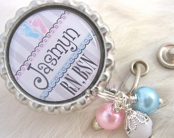 Personalized NICU ID Badge Reel, RN, Bsn Cute Labor and Delivery Nurse Np, Lpn,  Lmt, Jewelry, White Holder Pull Id Clip, Pediatric Medical