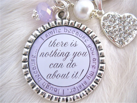 Wedding Gift For Big Sister : Items similar to SISTER Wedding Quote Bridal Jewelry Gift pendant ...
