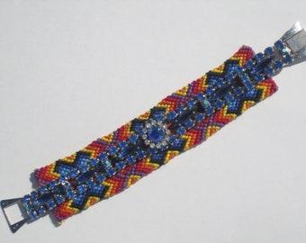 "Vintage Rhinestone Friendship Bracelet- ""Kaleidoscope"""