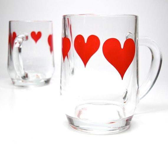 Vintage Glass Mugs Red Heart France Glass Coffee Mug