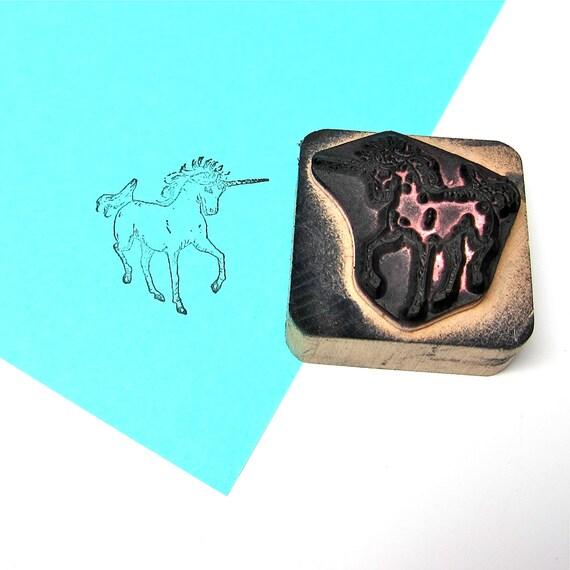 Vintage Unicorn Rubber Stamp Wood Mount Scrapbook Supply