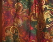 Vintage Fabric Remnant Gorgeous Abstract Pattern with Red Gold Green Brown Cotton