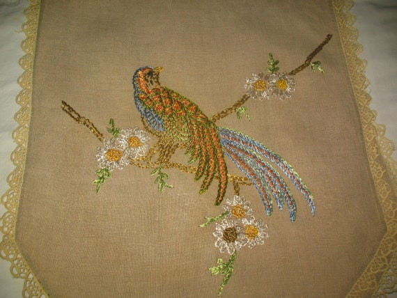 Vintage Beige Linen Table Scarf Embroidery Bright Colored Bird Crochet Trim