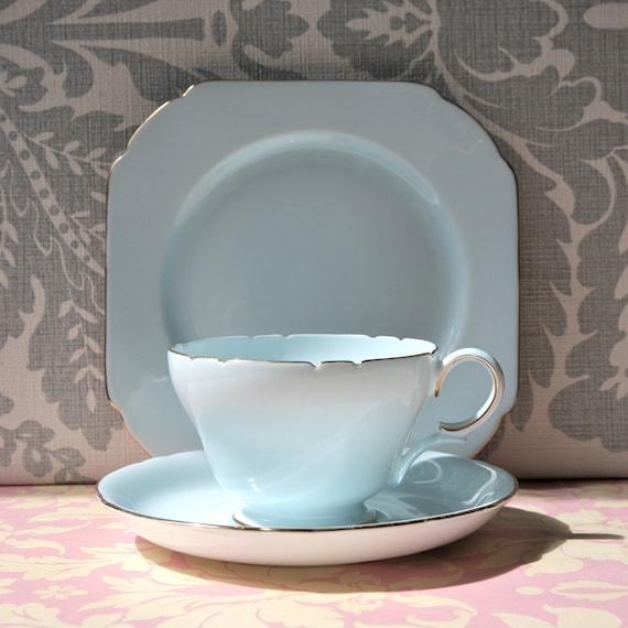 RESERVED Art Deco Style Duck Egg Blue Vintage Teacup Trio