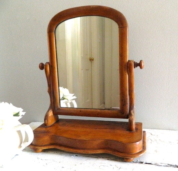 Wooden Mirror Stand Designs : Vintage vanity mirror on stand wood frame