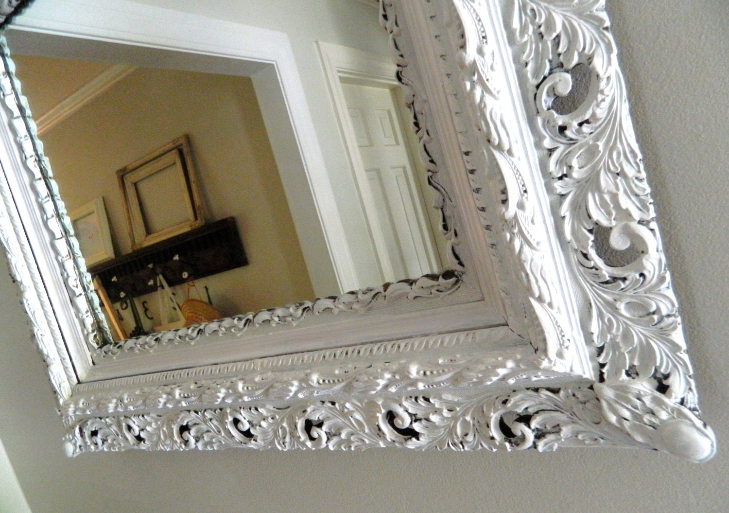 Vintage Shabby Chic Mirror White Wood Frame Ornate