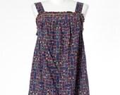 70s Vintage Dress Sundress Patchwork Blue Medium Large