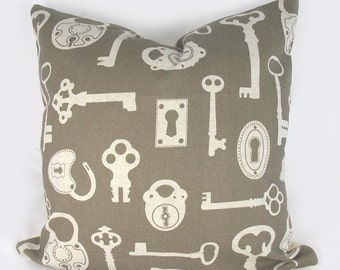Keys - Decorative Pillow Cushion Cover - Accent Pillow - Khaki brown, Khaki neutral - 18 x 18 inch