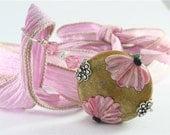 Lampwork Focal Bead Pendant - SRAJD Glass Floral Pink