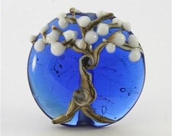 Lampwork Bead Handmade Lampwork Glass Bead Lampwork Tree Focal Blue White SRA DUST Team LE Team