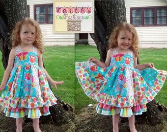 Sweet Shop Owl Cupcake Dress Double Ruffle Stripwork