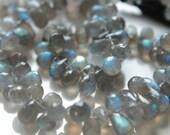 Labradorite Faceted Tear Drop Briolettes, 6 - 8 mm, 6 beads GM1801FD/8/6