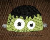 Frankenstein Monster Hat Pattern - Crochet Pattern 5 (us and uk Terms) - Beanie and Earflap Pattern - Newborn to Adult - INSTANT DOWNLOAD