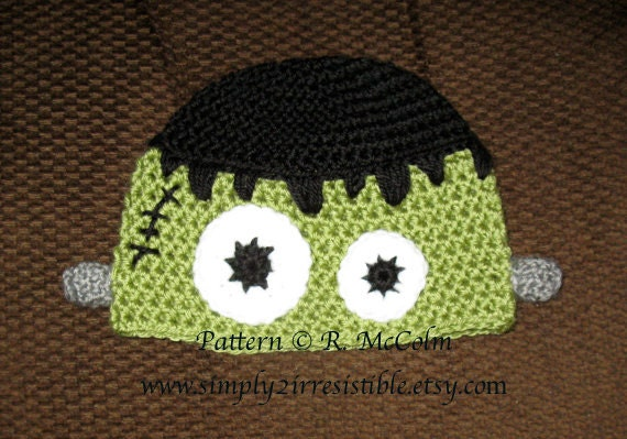 Items Similar To Frankenstein Monster Hat Pattern Crochet Pattern