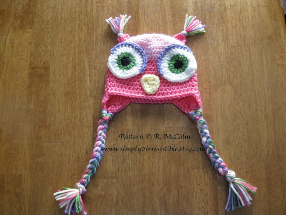 Owl Hat Pattern - us and uk Terms - Crochet Pattern 1 - Beanie and Earflap Pattern - Newborn to Adult Sizes - INSTANT DOWNLOAD