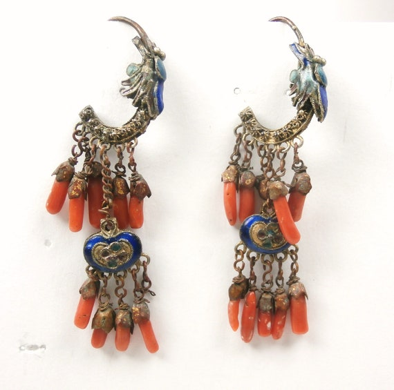 RESERVE FOR H. T. Chinese Export Coral and Enamel Antique Earrings