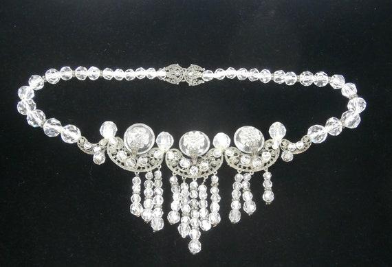 RESERVE FOR E  Intaglio Crystal  Silver Art Deco Intaglio Necklace, Filigree Fringe Necklace, Vintage  Crystal Bridal Necklace,