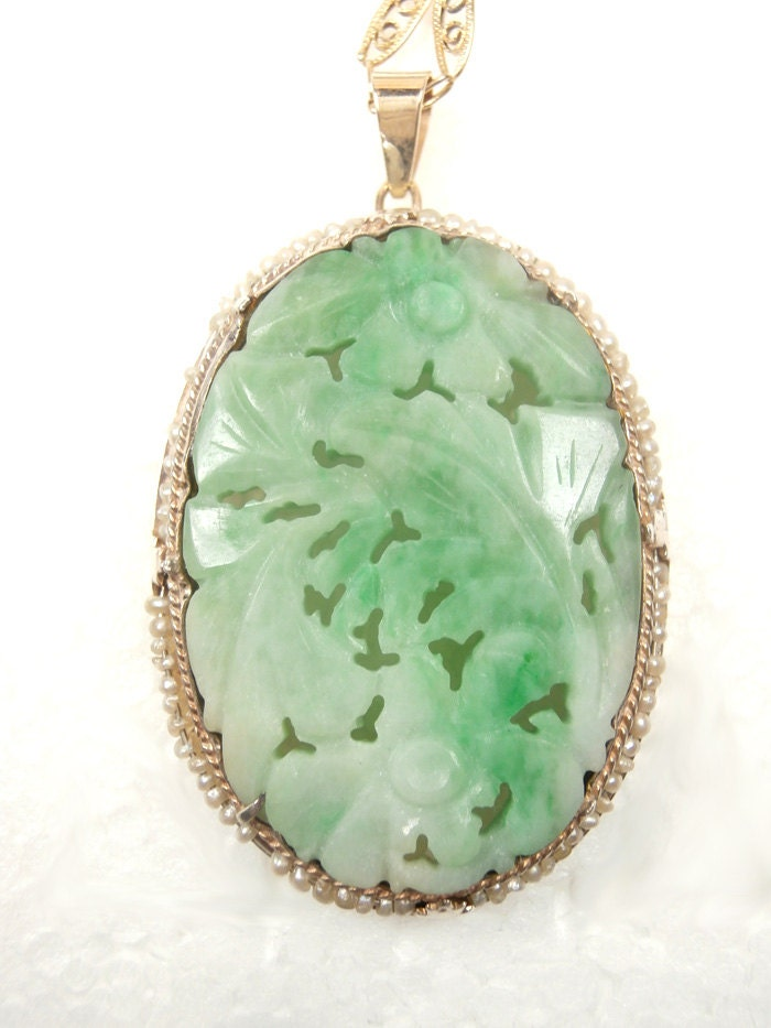Reserve Antique Carved Jade Amp 14k Pendant And Chain