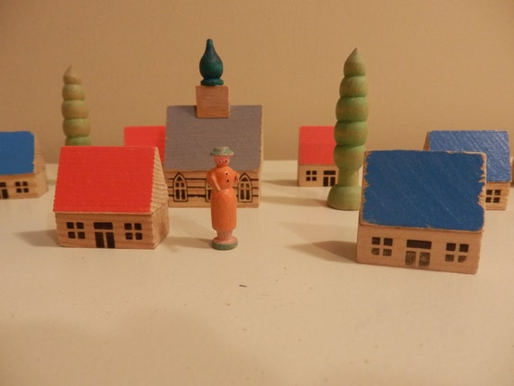 Vintage Wooden Toy Village Miniature Village East German