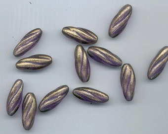 12 beautiful vintage lucite beads - swirled ovals - gold coated purple - 25 x 10 mm