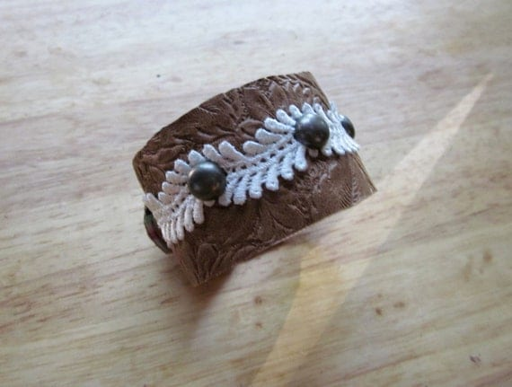 Embossed Leather & Lace Cuff with Metal Studs and Pink Striped Lining