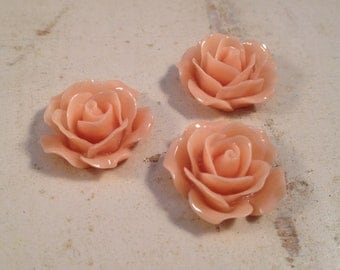 6 Pcs Dusty Rose Resin Flowers Vintage Style Plastic Rose Cabochon flowers Resin Roses 18x18x8mm